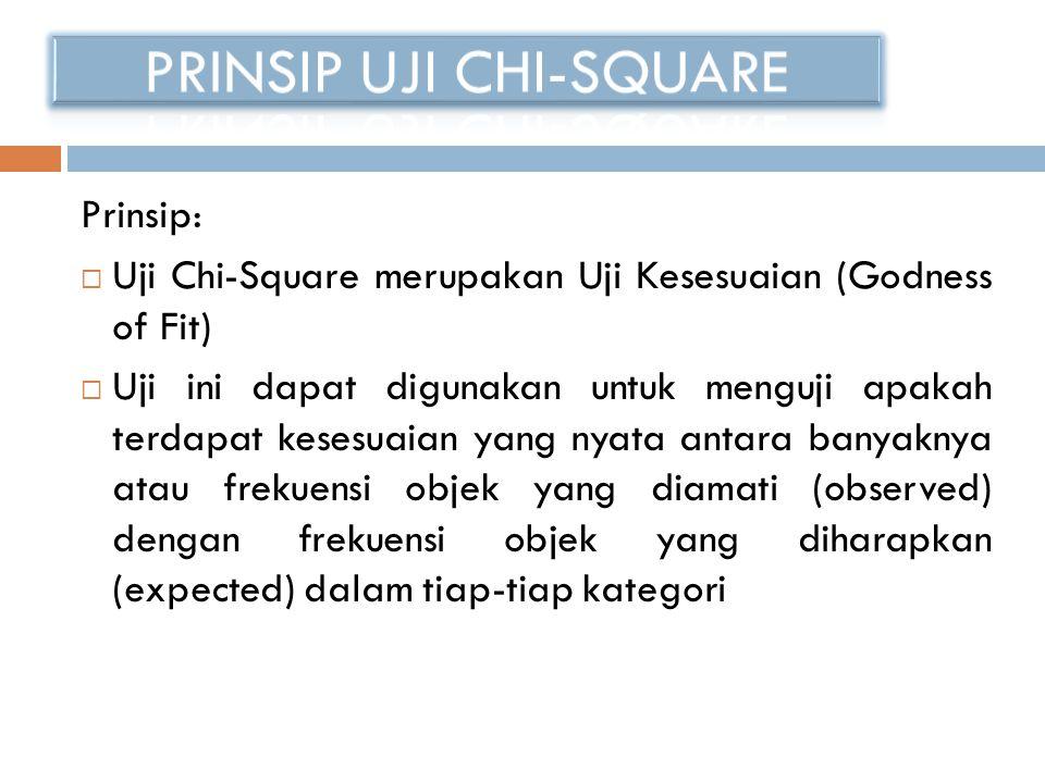 Prinsip:  Uji Chi-Square merupakan Uji Kesesuaian (Godness of Fit)  Uji ini dapat digunakan untuk menguji apakah terdapat kesesuaian yang nyata anta