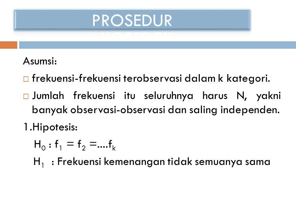 Asumsi:  frekuensi-frekuensi terobservasi dalam k kategori.  Jumlah frekuensi itu seluruhnya harus N, yakni banyak observasi-observasi dan saling in