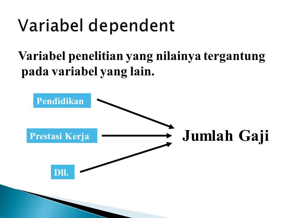 Variabel penelitian yang nilainya tergantung pada variabel yang lain. Jumlah Gaji Pendidikan Prestasi Kerja Dll. Variabel tergantung