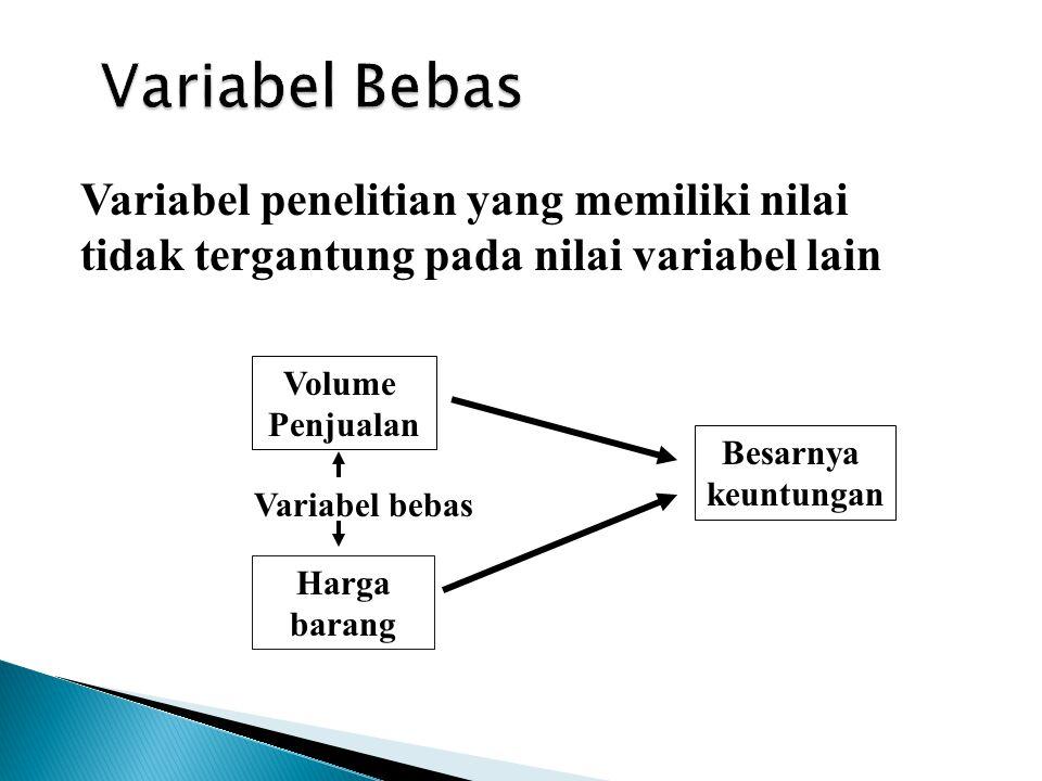 Variabel penelitian yang memiliki nilai tidak tergantung pada nilai variabel lain Volume Penjualan Harga barang Besarnya keuntungan Variabel bebas