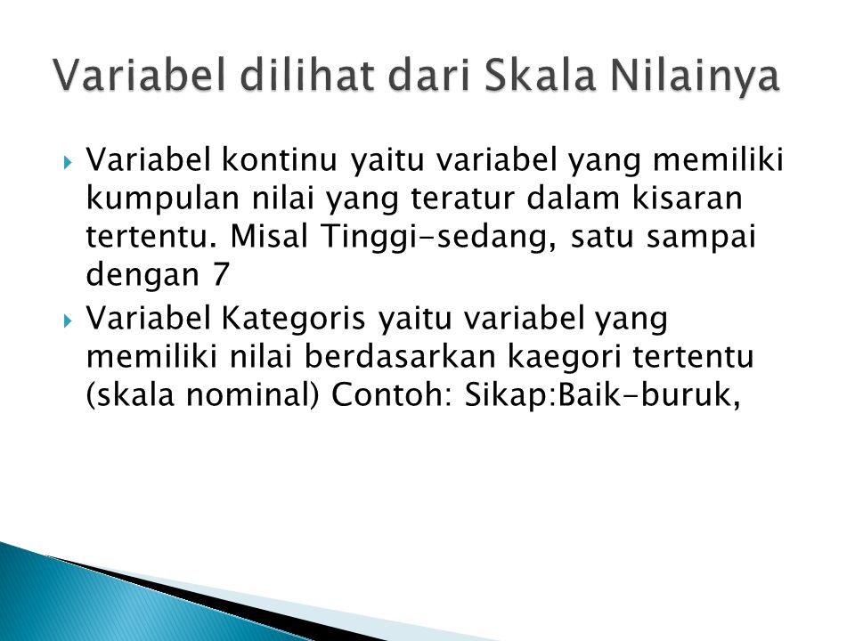  Variabel kontinu yaitu variabel yang memiliki kumpulan nilai yang teratur dalam kisaran tertentu. Misal Tinggi-sedang, satu sampai dengan 7  Variab