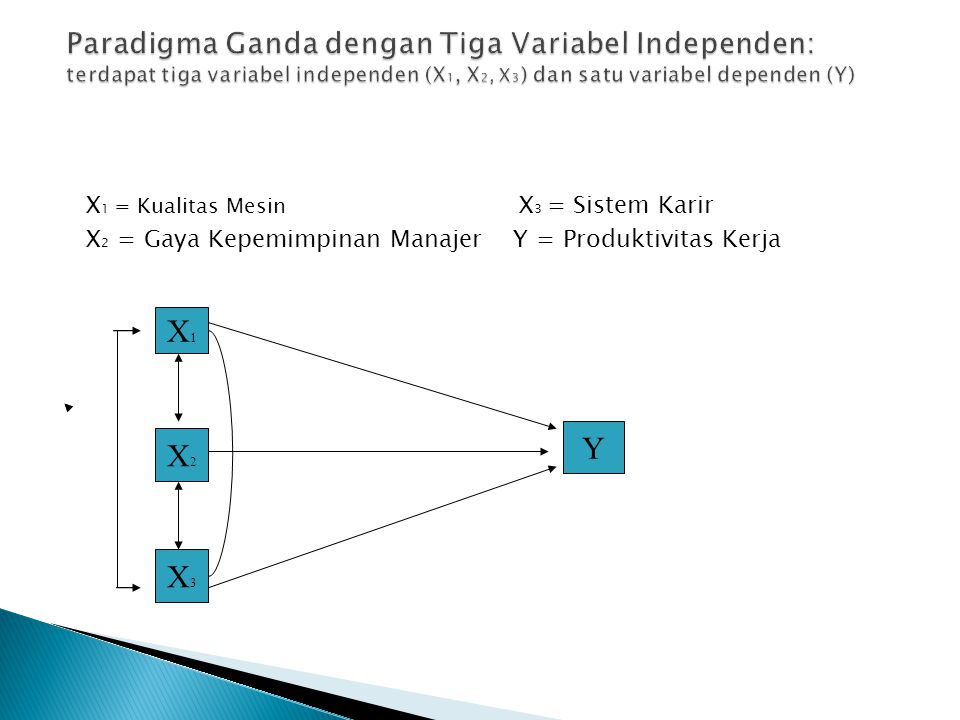 X 1 = Kualitas Mesin X 3 = Sistem Karir X 2 = Gaya Kepemimpinan Manajer Y = Produktivitas Kerja X1X1 X2X2 X3X3 Y