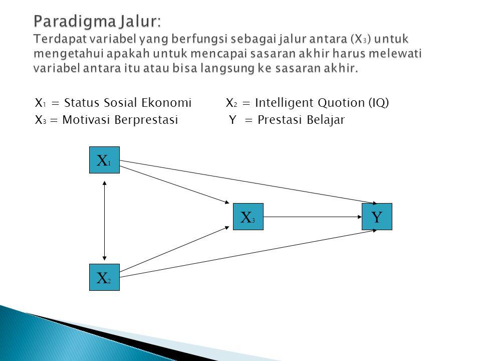 X 1 = Status Sosial Ekonomi X 2 = Intelligent Quotion (IQ) X 3 = Motivasi Berprestasi Y = Prestasi Belajar X1X1 X2X2 X3X3 Y