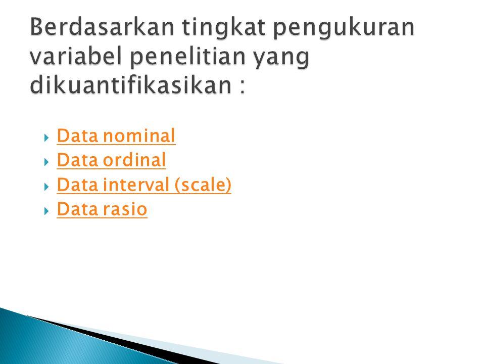  Data nominal Data nominal  Data ordinal Data ordinal  Data interval (scale) Data interval (scale)  Data rasio Data rasio