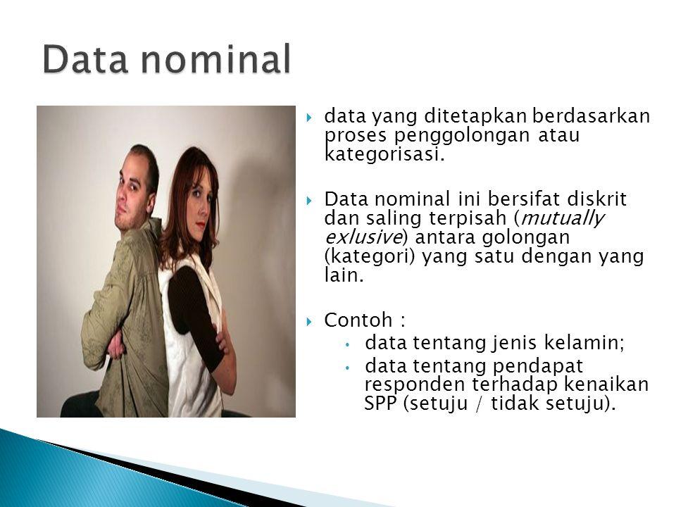  data yang ditetapkan berdasarkan proses penggolongan atau kategorisasi.  Data nominal ini bersifat diskrit dan saling terpisah (mutually exlusive)