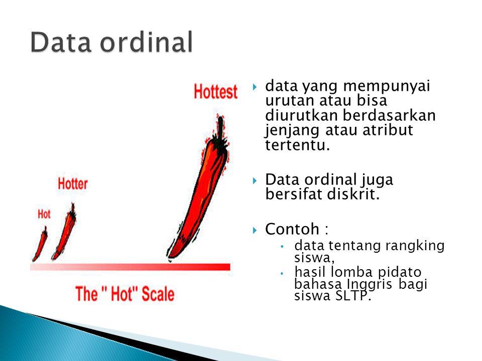  data yang mempunyai urutan atau bisa diurutkan berdasarkan jenjang atau atribut tertentu.  Data ordinal juga bersifat diskrit.  Contoh : data tent