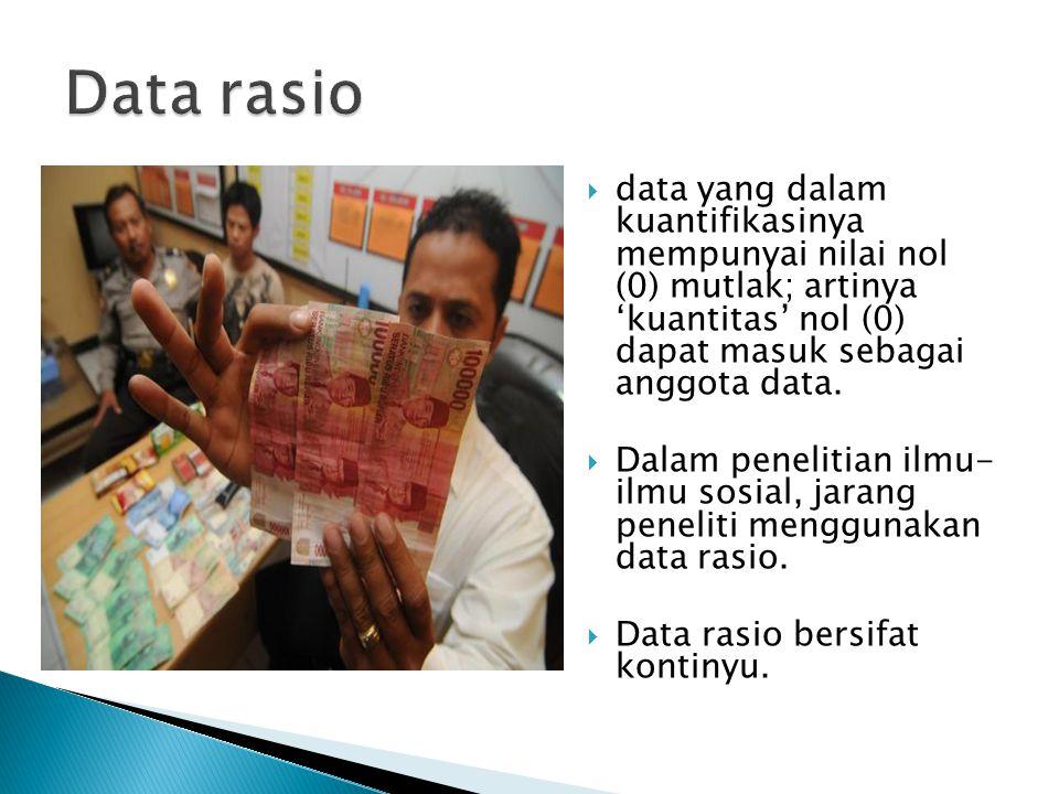 data yang dalam kuantifikasinya mempunyai nilai nol (0) mutlak; artinya 'kuantitas' nol (0) dapat masuk sebagai anggota data.  Dalam penelitian ilm