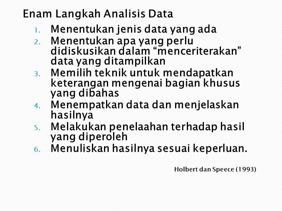 "Holbert dan Speece (1993) 1. Menentukan jenis data yang ada 2. Menentukan apa yang perlu didiskusikan dalam ""menceriterakan"" data yang ditampilkan 3."