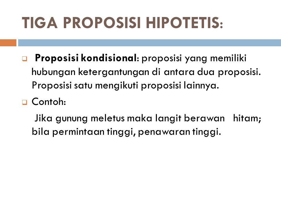 TIGA PROPOSISI HIPOTETIS:  Proposisi kondisional: proposisi yang memiliki hubungan ketergantungan di antara dua proposisi. Proposisi satu mengikuti p