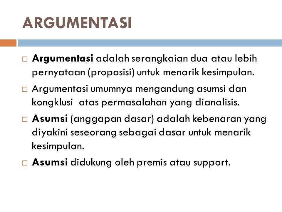 ARGUMENTASI  Argumentasi adalah serangkaian dua atau lebih pernyataan (proposisi) untuk menarik kesimpulan.  Argumentasi umumnya mengandung asumsi d