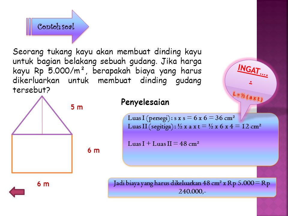 TTTTernyata luas segitiga= setengah dari luas persegi panjang.