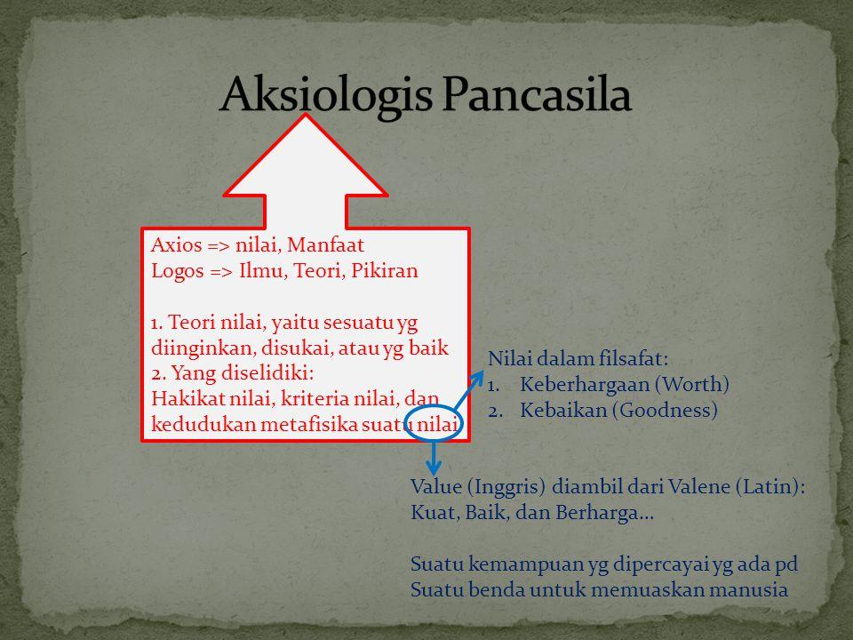 Axios => nilai, Manfaat Logos => Ilmu, Teori, Pikiran 1. Teori nilai, yaitu sesuatu yg diinginkan, disukai, atau yg baik 2. Yang diselidiki: Hakikat n