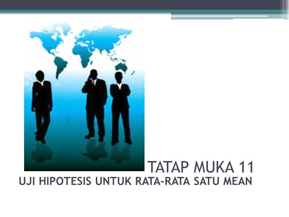 TATAP MUKA 11 UJI HIPOTESIS UNTUK RATA-RATA SATU MEAN