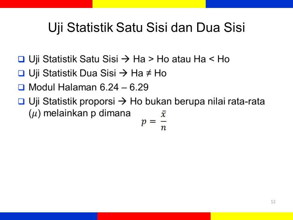 Uji Statistik Satu Sisi dan Dua Sisi  12