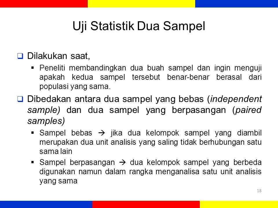 Uji Statistik Dua Sampel  Dilakukan saat,  Peneliti membandingkan dua buah sampel dan ingin menguji apakah kedua sampel tersebut benar-benar berasal dari populasi yang sama.