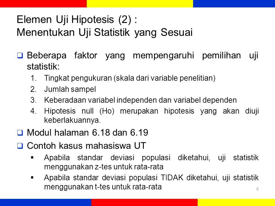 Elemen Uji Hipotesis (2) : Menentukan Uji Statistik yang Sesuai  Beberapa faktor yang mempengaruhi pemilihan uji statistik: 1.Tingkat pengukuran (skala dari variable penelitian) 2.Jumlah sampel 3.Keberadaan variabel independen dan variabel dependen 4.Hipotesis null (Ho) merupakan hipotesis yang akan diuji keberlakuannya.