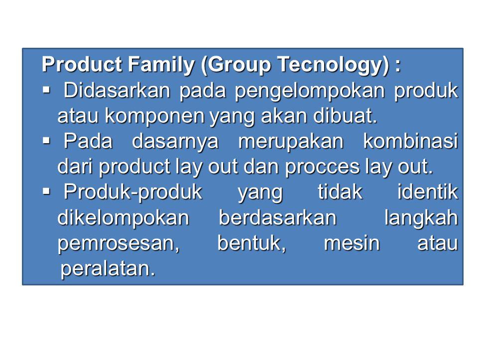 Product Family (Group Tecnology) :  Didasarkan pada pengelompokan produk atau komponen yang akan dibuat.