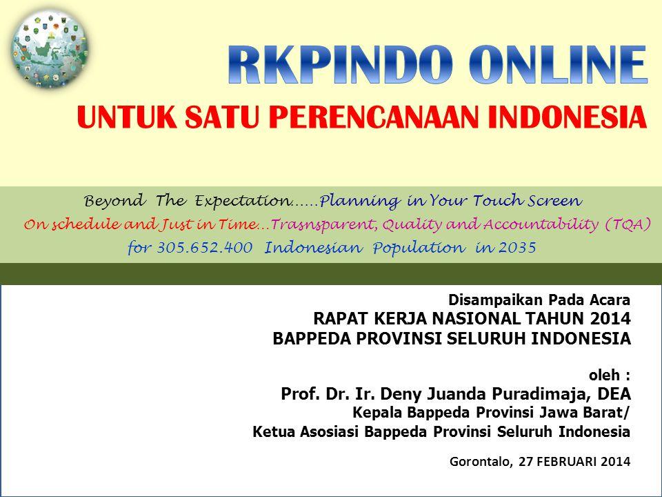 Disampaikan Pada Acara RAPAT KERJA NASIONAL TAHUN 2014 BAPPEDA PROVINSI SELURUH INDONESIA oleh : Prof.