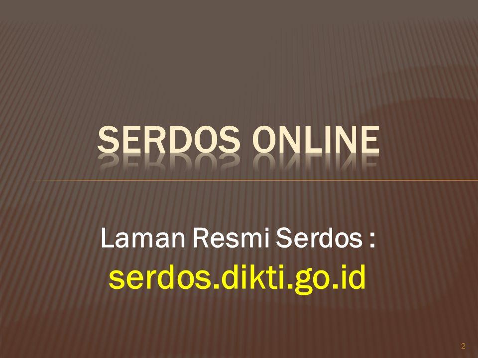 2 Laman Resmi Serdos : serdos.dikti.go.id