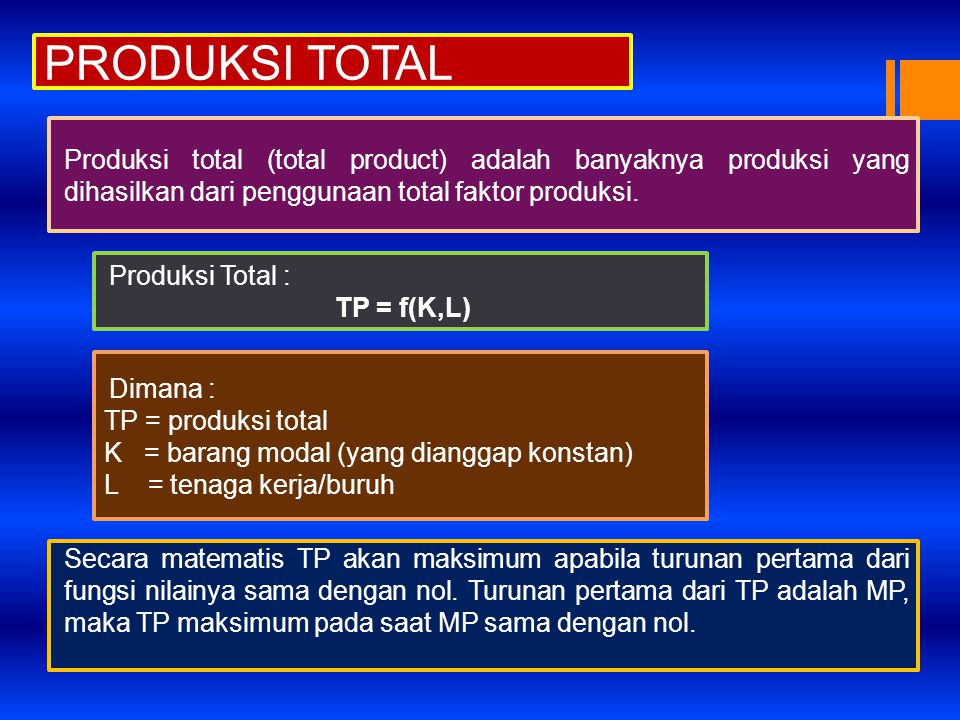 PRODUKSI TOTAL Produksi total (total product) adalah banyaknya produksi yang dihasilkan dari penggunaan total faktor produksi. Produksi Total : TP = f