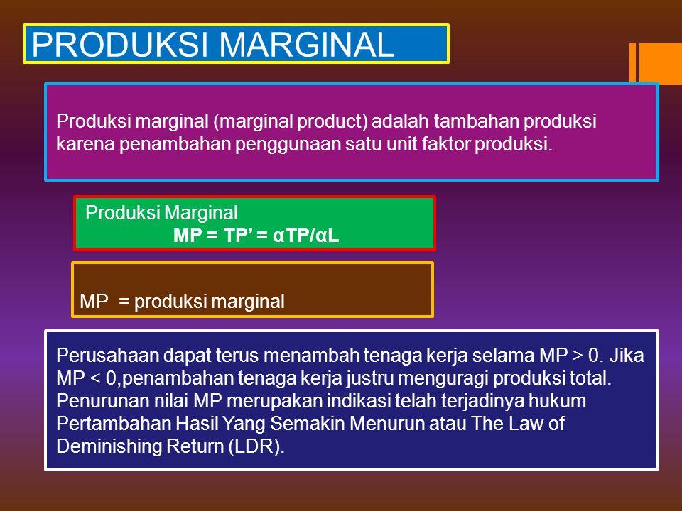 PRODUKSI MARGINAL Produksi marginal (marginal product) adalah tambahan produksi karena penambahan penggunaan satu unit faktor produksi. Produksi Margi