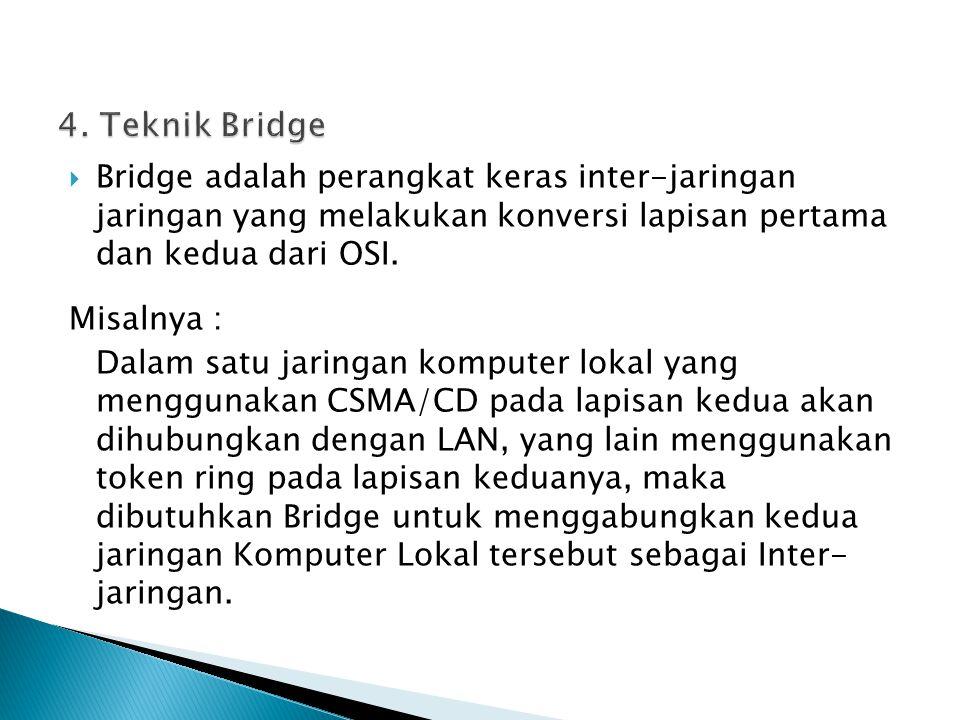  Bridge adalah perangkat keras inter-jaringan jaringan yang melakukan konversi lapisan pertama dan kedua dari OSI. Misalnya : Dalam satu jaringan kom