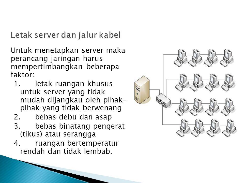 Untuk menetapkan server maka perancang jaringan harus mempertimbangkan beberapa faktor: 1.letak ruangan khusus untuk server yang tidak mudah dijangkau oleh pihak- pihak yang tidak berwenang 2.bebas debu dan asap 3.bebas binatang pengerat (tikus) atau serangga 4.ruangan bertemperatur rendah dan tidak lembab.