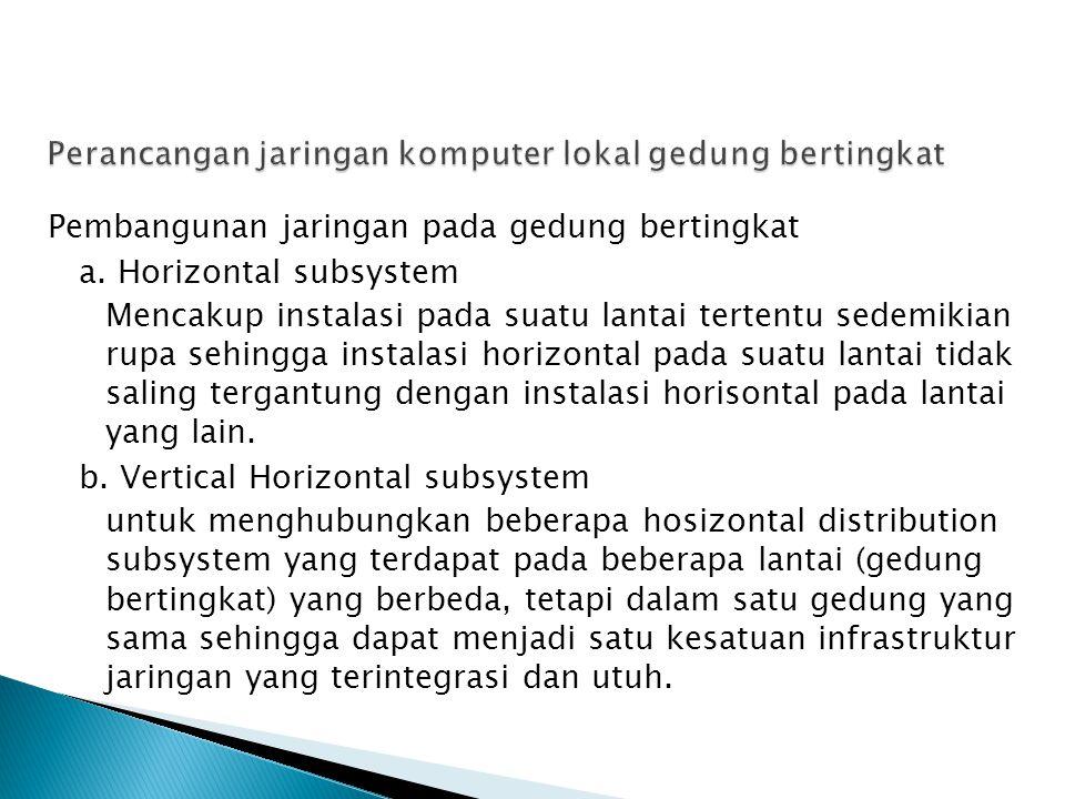 Pembangunan jaringan pada gedung bertingkat a. Horizontal subsystem Mencakup instalasi pada suatu lantai tertentu sedemikian rupa sehingga instalasi h