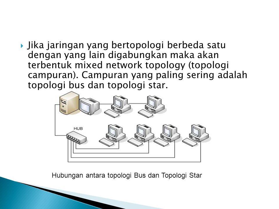  Jika jaringan yang bertopologi berbeda satu dengan yang lain digabungkan maka akan terbentuk mixed network topology (topologi campuran).