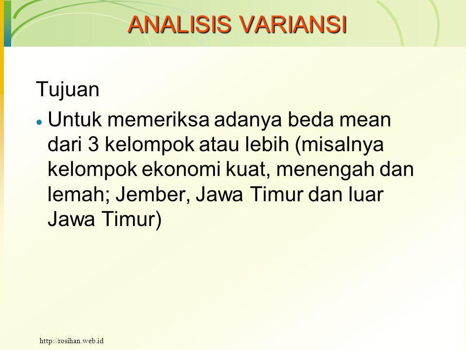 ANALISIS VARIANSI Tujuan  Untuk memeriksa adanya beda mean dari 3 kelompok atau lebih (misalnya kelompok ekonomi kuat, menengah dan lemah; Jember, Jawa Timur dan luar Jawa Timur) http://rosihan.web.id