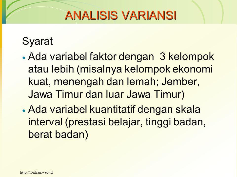 ANALISIS VARIANSI Syarat  Data diambil secara acak  Variansi kelompok bersifat homogen http://rosihan.web.id