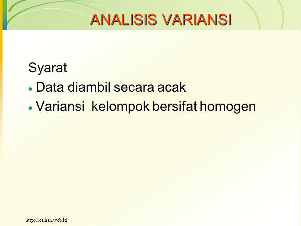 ANALISIS VARIANSI Kenapa analisis variansi.
