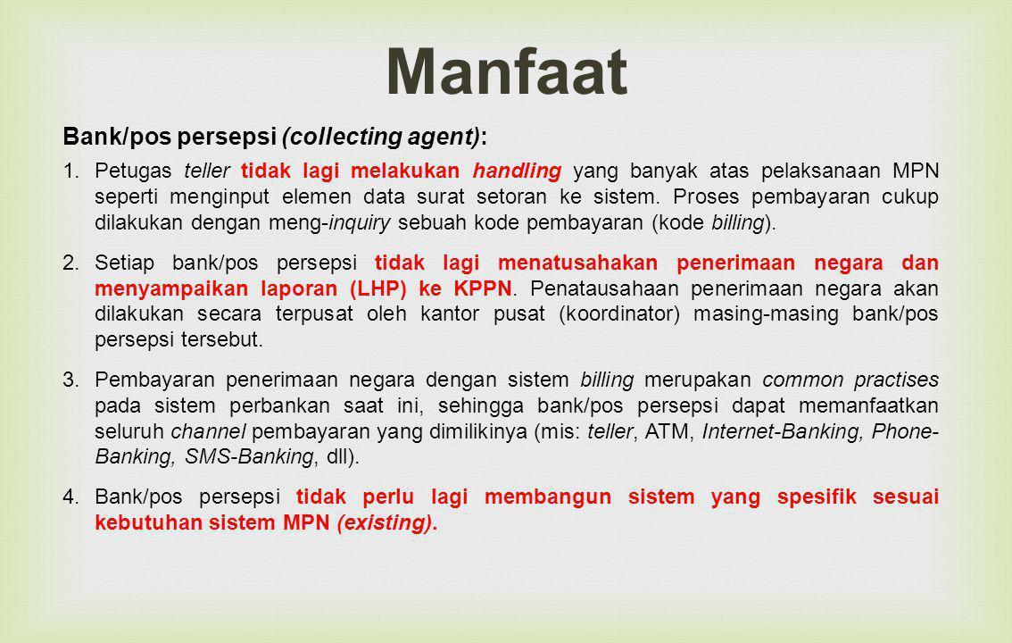 Bank/pos persepsi (collecting agent): 1.Petugas teller tidak lagi melakukan handling yang banyak atas pelaksanaan MPN seperti menginput elemen data surat setoran ke sistem.