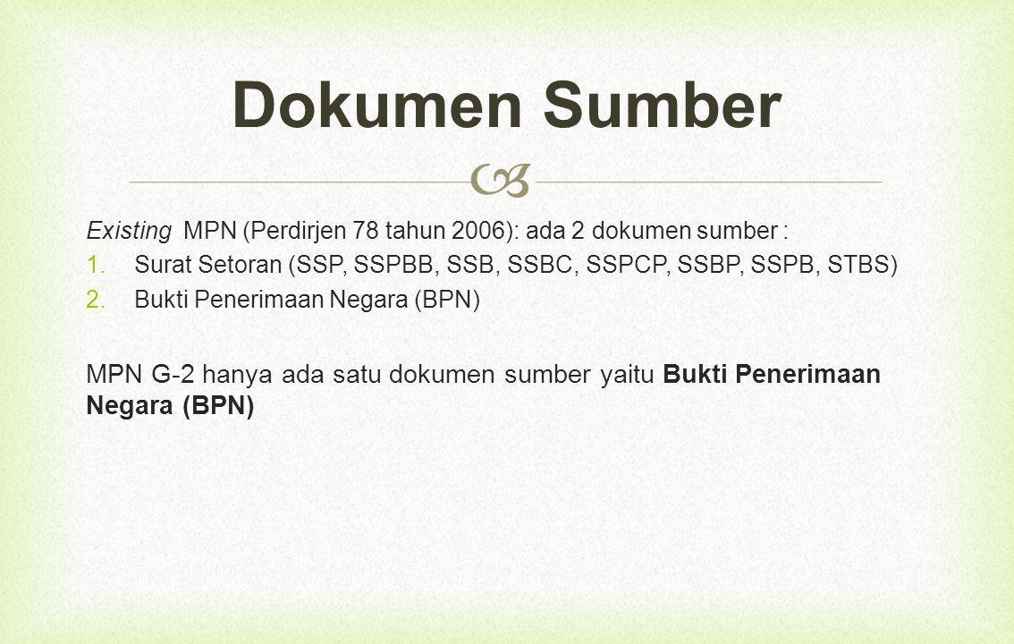  Existing MPN (Perdirjen 78 tahun 2006): ada 2 dokumen sumber :  Surat Setoran (SSP, SSPBB, SSB, SSBC, SSPCP, SSBP, SSPB, STBS)  Bukti Penerimaan Negara (BPN) MPN G-2 hanya ada satu dokumen sumber yaitu Bukti Penerimaan Negara (BPN) Dokumen Sumber