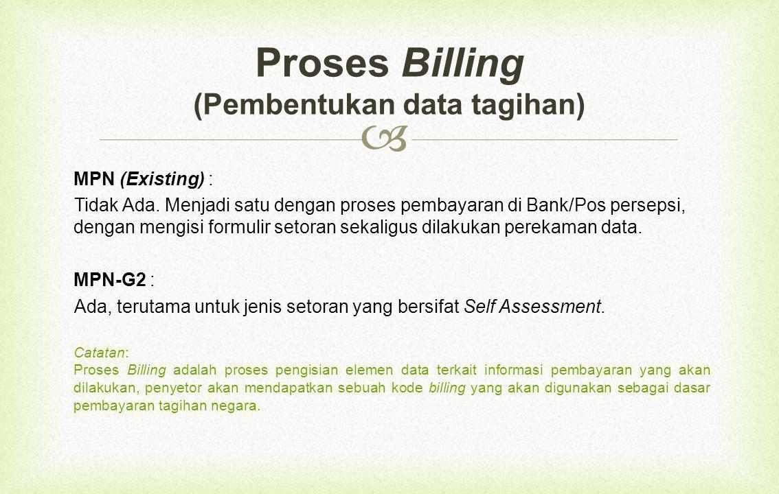 Wajib pajak/wajib setor/wajib bayar (pembayar): 1.Tidak perlu lagi membawa dan mengisi surat setoran (SSP, SSBP, SSPCP, dll), data setoran digantikan dengan proses billing.