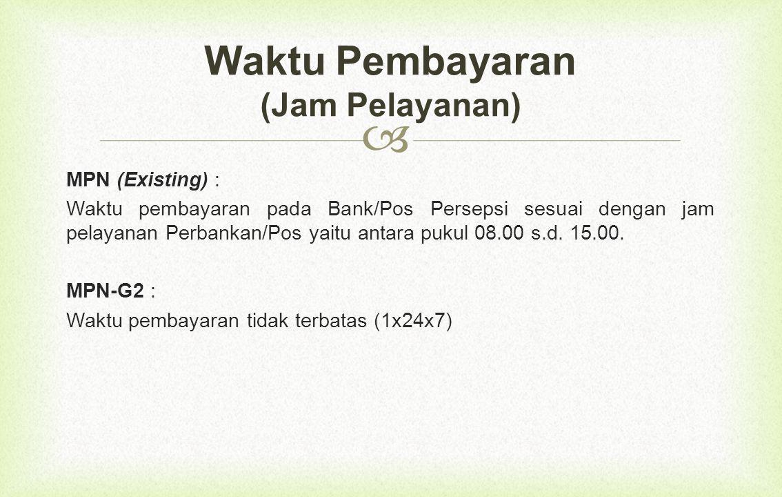  MPN (Existing) : Waktu pembayaran pada Bank/Pos Persepsi sesuai dengan jam pelayanan Perbankan/Pos yaitu antara pukul 08.00 s.d.