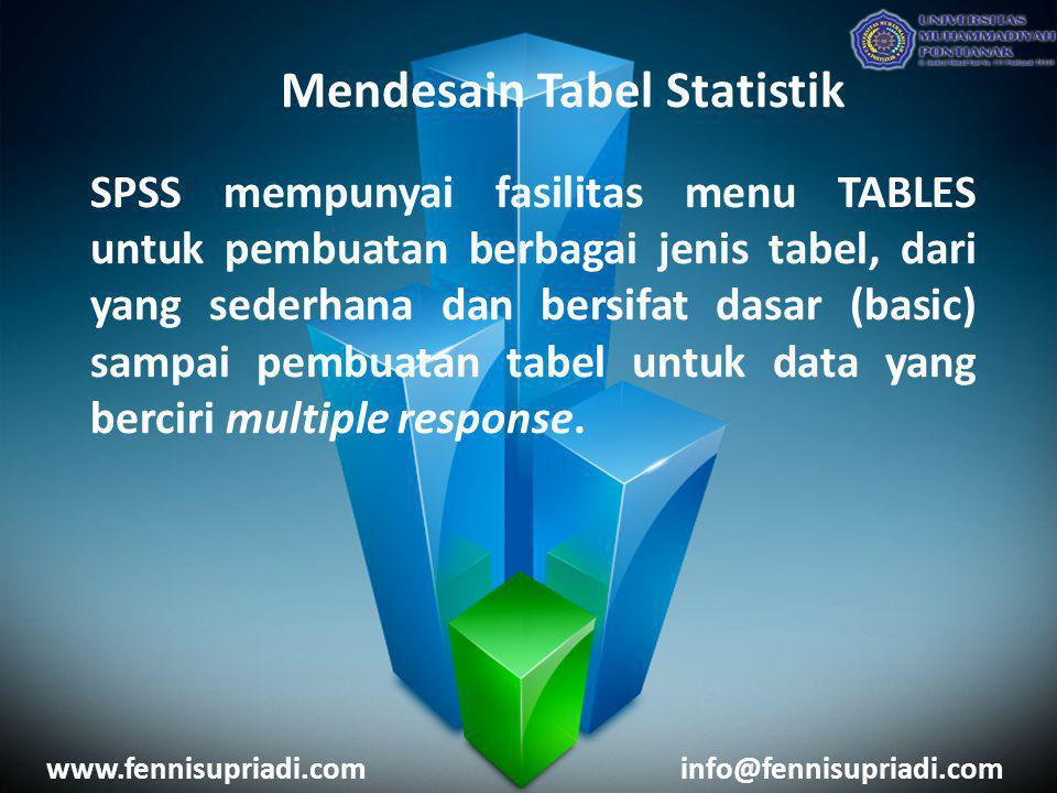 Mendesain Tabel Statistik SPSS mempunyai fasilitas menu TABLES untuk pembuatan berbagai jenis tabel, dari yang sederhana dan bersifat dasar (basic) sa