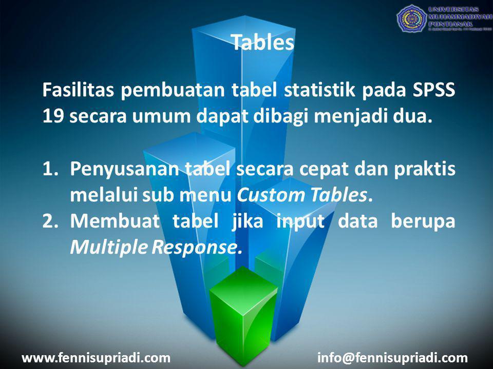 Tables Fasilitas pembuatan tabel statistik pada SPSS 19 secara umum dapat dibagi menjadi dua. 1.Penyusanan tabel secara cepat dan praktis melalui sub