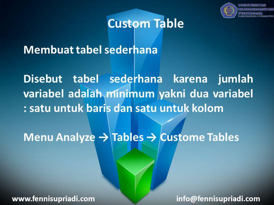 Custom Table Membuat tabel sederhana Disebut tabel sederhana karena jumlah variabel adalah minimum yakni dua variabel : satu untuk baris dan satu untu