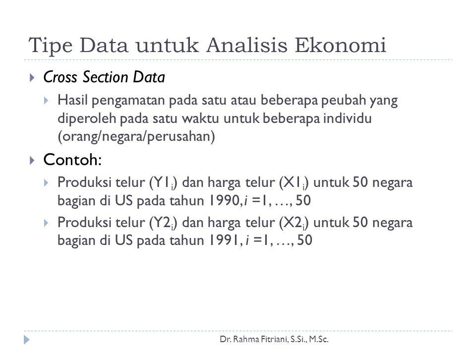 Tipe Data untuk Analisis Ekonomi  Cross Section Data  Hasil pengamatan pada satu atau beberapa peubah yang diperoleh pada satu waktu untuk beberapa