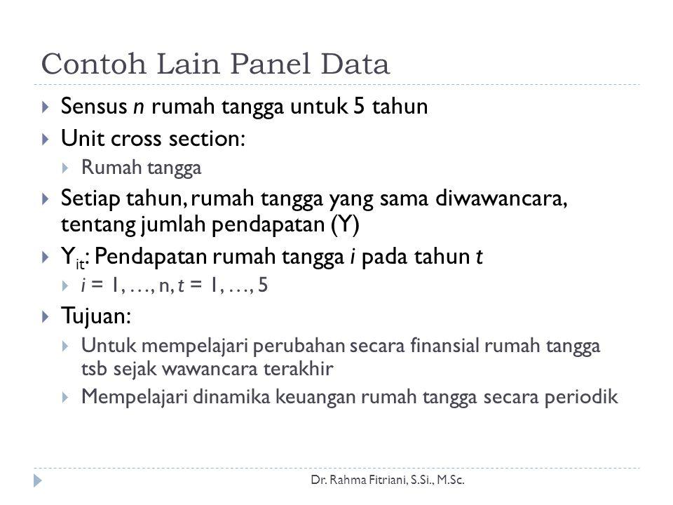 Contoh Lain Panel Data Dr. Rahma Fitriani, S.Si., M.Sc.  Sensus n rumah tangga untuk 5 tahun  Unit cross section:  Rumah tangga  Setiap tahun, rum
