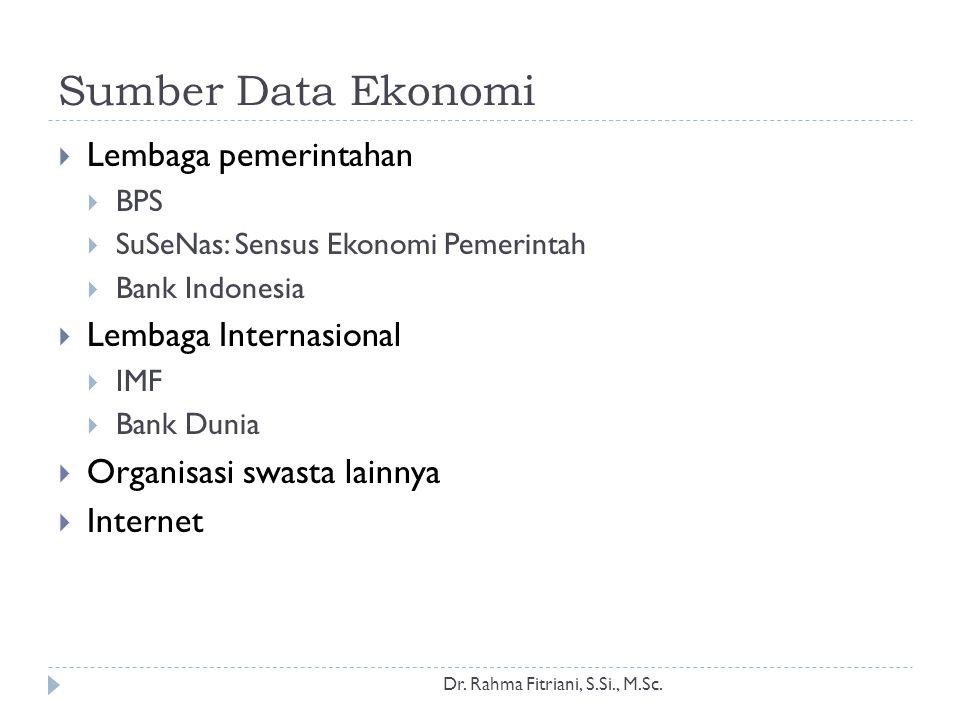 Sumber Data Ekonomi Dr. Rahma Fitriani, S.Si., M.Sc.  Lembaga pemerintahan  BPS  SuSeNas: Sensus Ekonomi Pemerintah  Bank Indonesia  Lembaga Inte