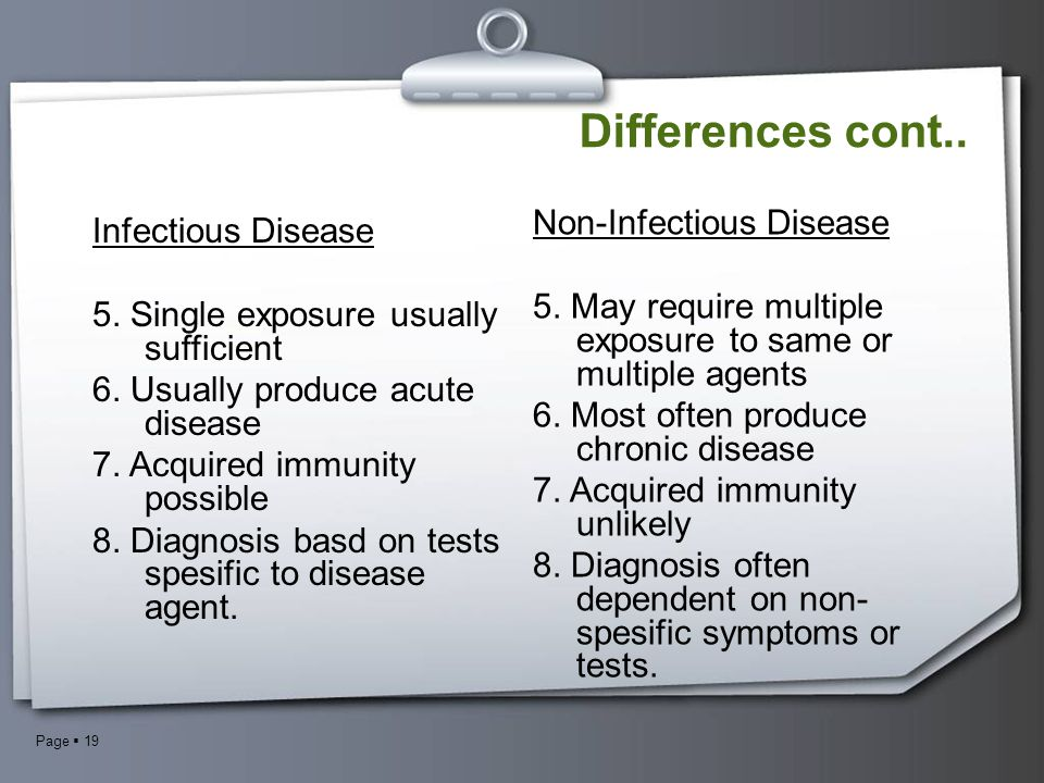Page  19 Non-Infectious Disease 5. May require multiple exposure to same or multiple agents 6. Most often produce chronic disease 7. Acquired immunit