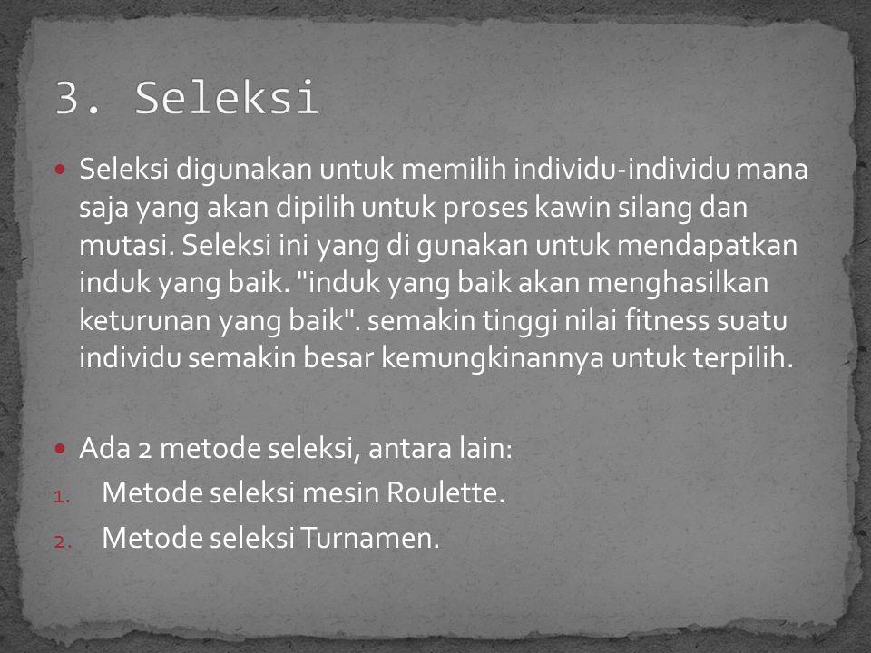 Seleksi digunakan untuk memilih individu-individu mana saja yang akan dipilih untuk proses kawin silang dan mutasi.
