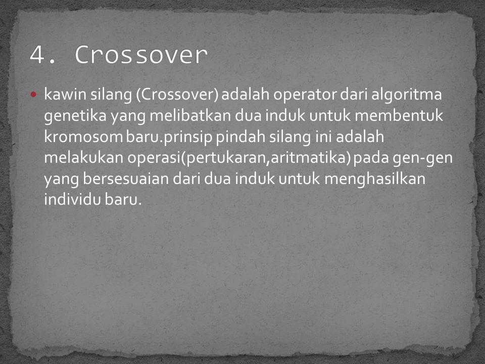 kawin silang (Crossover) adalah operator dari algoritma genetika yang melibatkan dua induk untuk membentuk kromosom baru.prinsip pindah silang ini adalah melakukan operasi(pertukaran,aritmatika) pada gen-gen yang bersesuaian dari dua induk untuk menghasilkan individu baru.