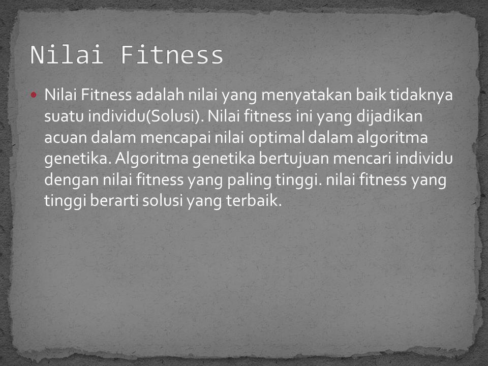 Nilai Fitness adalah nilai yang menyatakan baik tidaknya suatu individu(Solusi).