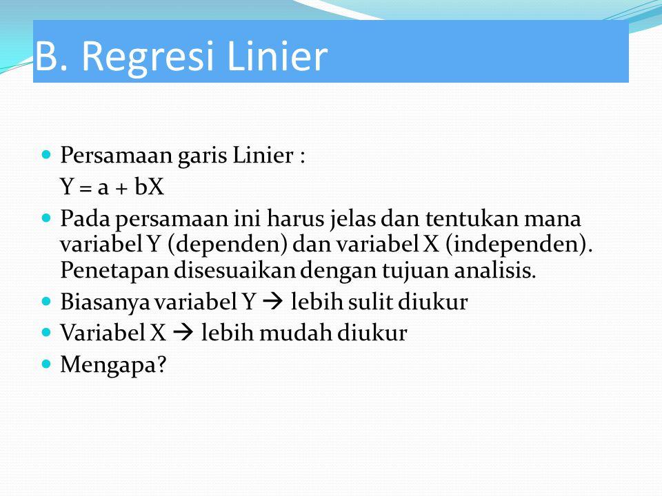 B. Regresi Linier Persamaan garis Linier : Y = a + bX Pada persamaan ini harus jelas dan tentukan mana variabel Y (dependen) dan variabel X (independe