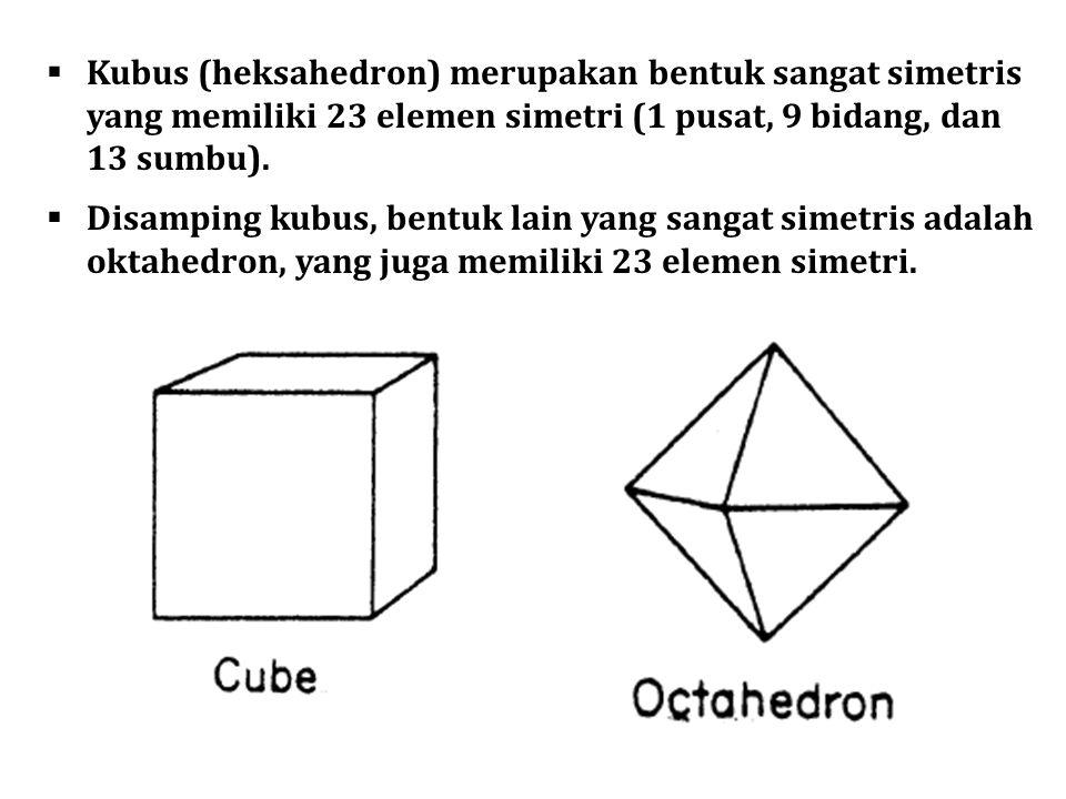  Kubus (heksahedron) merupakan bentuk sangat simetris yang memiliki 23 elemen simetri (1 pusat, 9 bidang, dan 13 sumbu).  Disamping kubus, bentuk la
