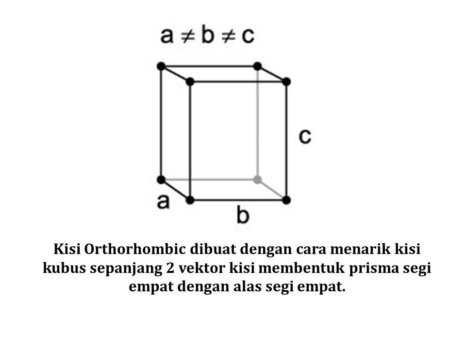 Kisi Orthorhombic dibuat dengan cara menarik kisi kubus sepanjang 2 vektor kisi membentuk prisma segi empat dengan alas segi empat.