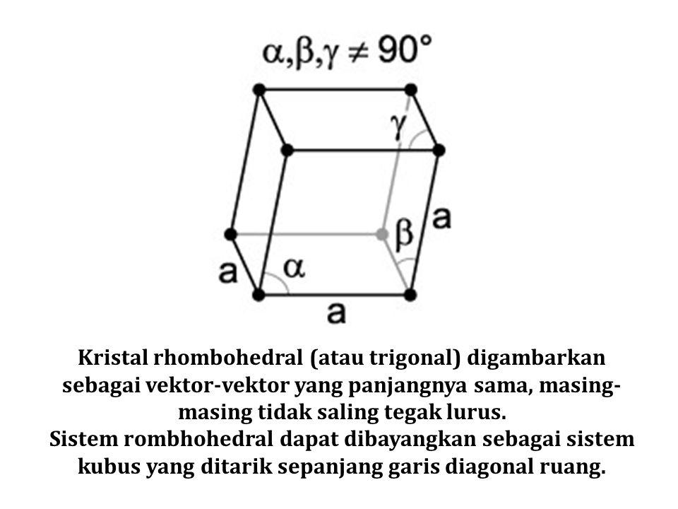 Kristal rhombohedral (atau trigonal) digambarkan sebagai vektor-vektor yang panjangnya sama, masing- masing tidak saling tegak lurus. Sistem rombhohed